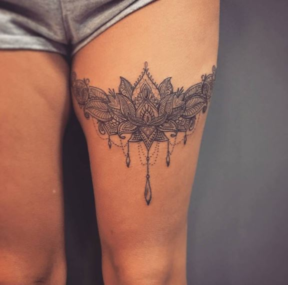 Tattoo Designs Thigh: 50 Leg Garter Tattoos Ideas And Designs For Women (2018