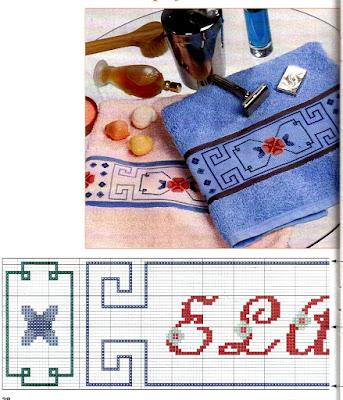 Parure da bagno da ricamare a punto a croce con greca