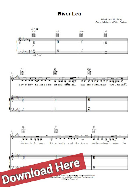 adele, river lea, sheet music, piano notes, score, chords, klavier noten, akkorden, partition, how to play, learn, tutorial, lesson, keyboard, guitar, tabs, violin, cello, saxophone