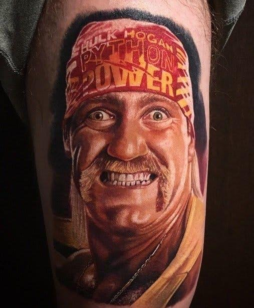 Awesome Hulk Hogan portrait tattoo.  STRENGTHFIGHTER.COM