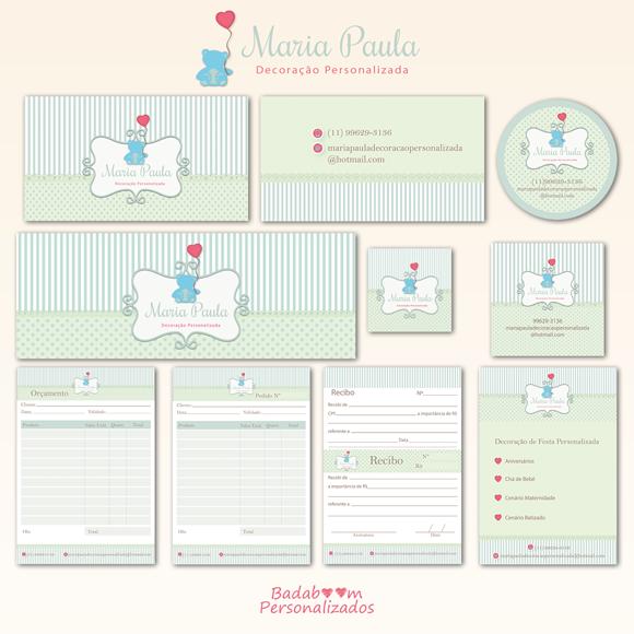 Kit de Artes Digitais para Identidade Visual Maria Paula - Decoração Personalizada