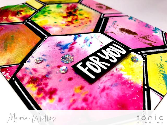#cardbomb, #mariawillis, #card, #handmade, #handmadecards, #cards, #art, #watercolor, #tonicstudios, #tonicstudiosusa, #color, #diecutting, #stamp, #ink, #paper, #papercraft, #hexagon,