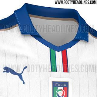 Detail jersey timnas Italia away terbaru Euro 2016 Perancis
