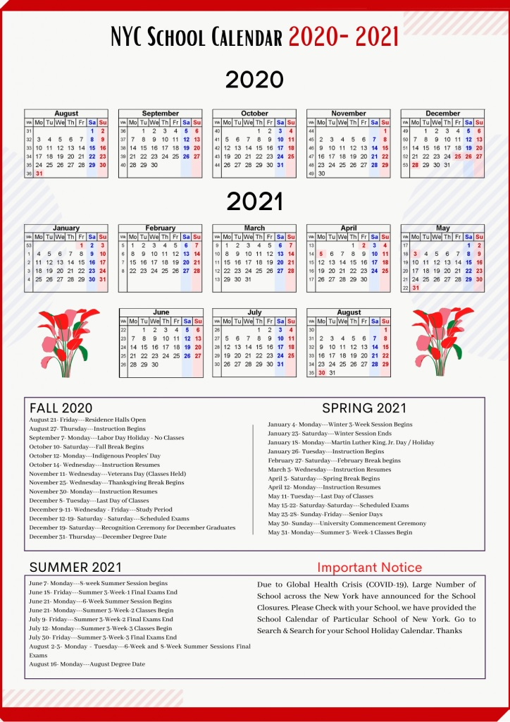 NYC School Holidays Calendar 2020-2021