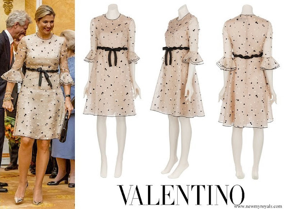 Queen Maxima wore Valentino Bobble Detail Dress