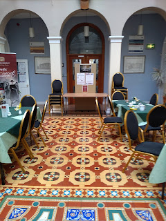 Dining area with spectacular Victorian tiled floor