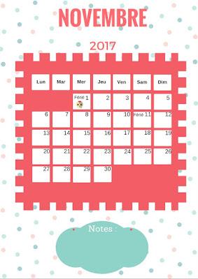 Calendrier 2017 gratuit à imprimer mois de novembre
