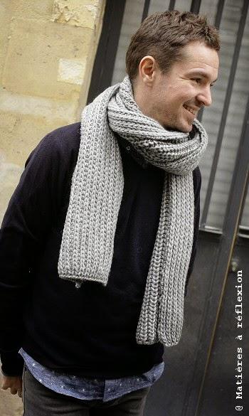 L Atelier Matières à réflexion  Echarpe homme grosse laine gris ... c2fe12d0aa6