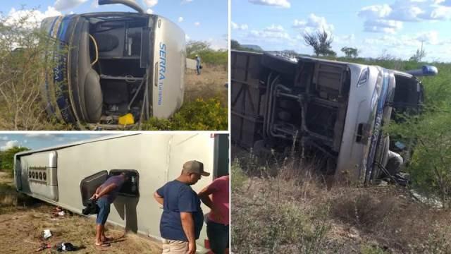 Acidente com ônibus de turismo deixa quatro mortos e dezenas de feridos na BR-116