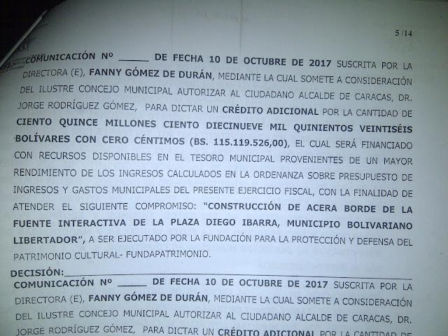 Develan guiso multimillonario de Jorge Rodríguez con obras de la Plaza Diego Ibarra (Fotos + Documentos)
