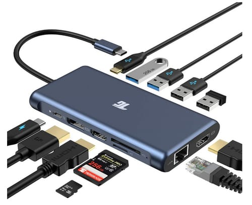 Tiergrade USB C Hub 12 in 1 Triple Display Adapter