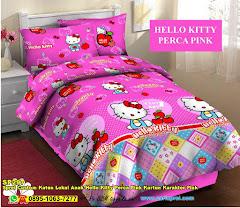 Sprei Custom Katun Lokal Anak Hello Kitty Perca Pink Kartun Karakter Pink