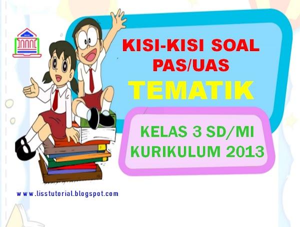Kisi-kisi Soal PAS/UAS Tematik Kelas 3 SD/MI Semester 1 Kurikulum 2013