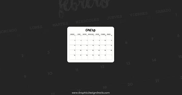 Calendario mensual 2020 en blanco y negro para imprimir