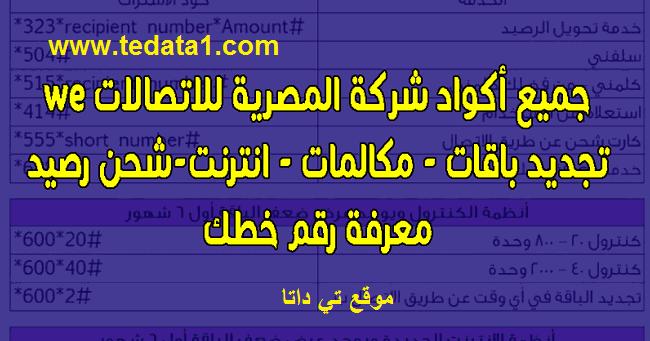 أكواد we وي الجديدة وجميع الأرقام والأكواد المختصرة 2021