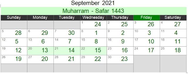 Islamic Hijri Calendar September 2021 (Muharram - Safar 1443)