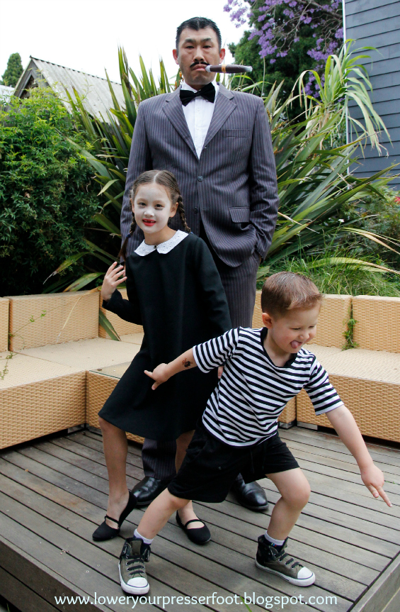 DIY Addams Family halloween costume www.loweryourpresserfoot.blogspot.com