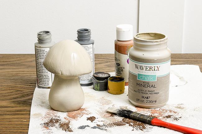 Painting Dollar Tree ceramic mushrooms