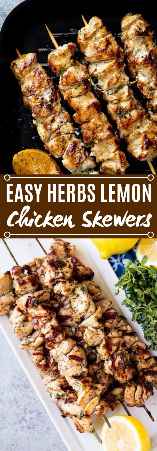 Easy Herby Lemon Chicken Skewers #dinner #grilling