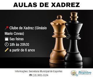 Inscrições abertas para Escolinha Municipal de Xadrez de Registro-SP