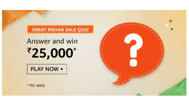 Amazon Great Indian Sale Quiz Answer – Win Rs.25000