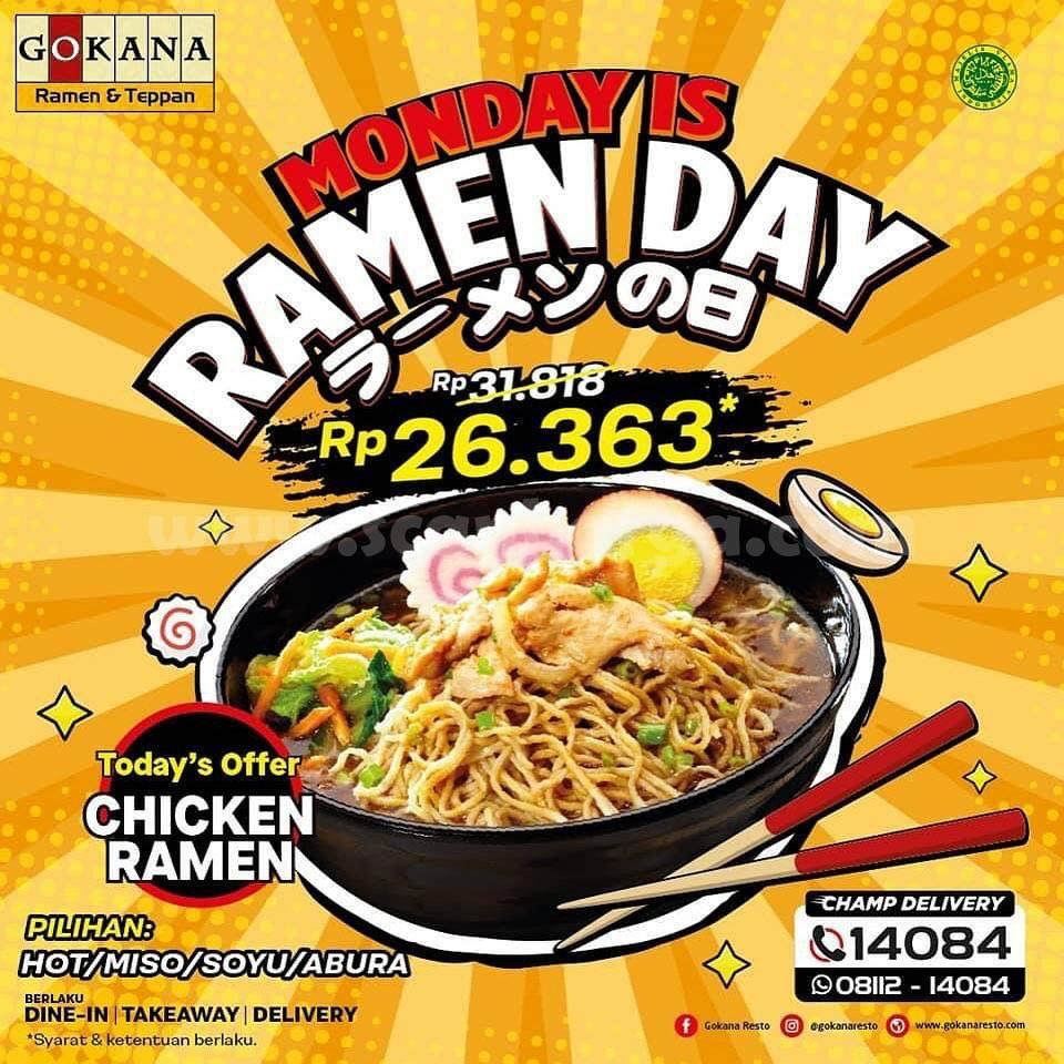 GOKANA Promo MONDAY is RAMEN DAY! Harga Spesial Chicken Ramen cuma Rp 26.363