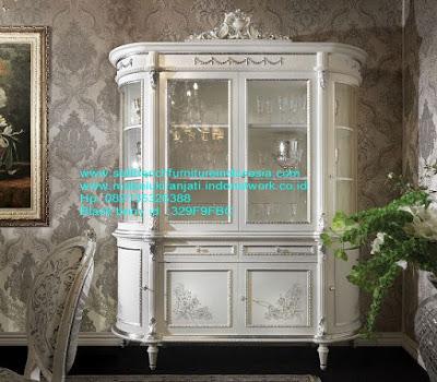 kabinet bufet klasik kabinet bufet jepara kabinet bufet klasik kabinet bufet duco putih mebel kabinet bufet jati ukir jepara LMRJ-99005