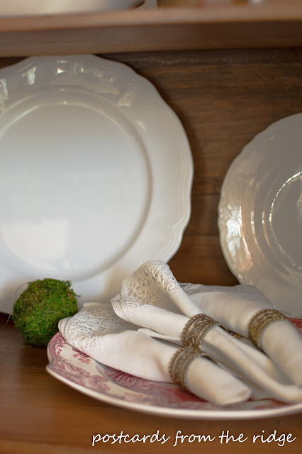 Vintage ironstone platter and linen napkins.