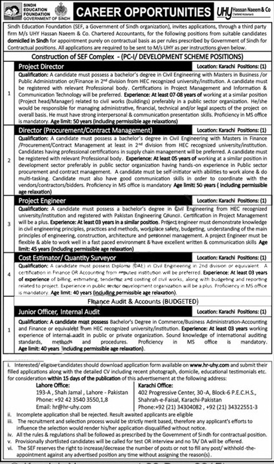 Jobs In Sindh Education Foundation  Dec 2017
