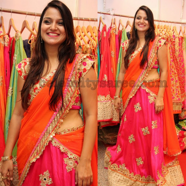 Pink and Orange Half Saree