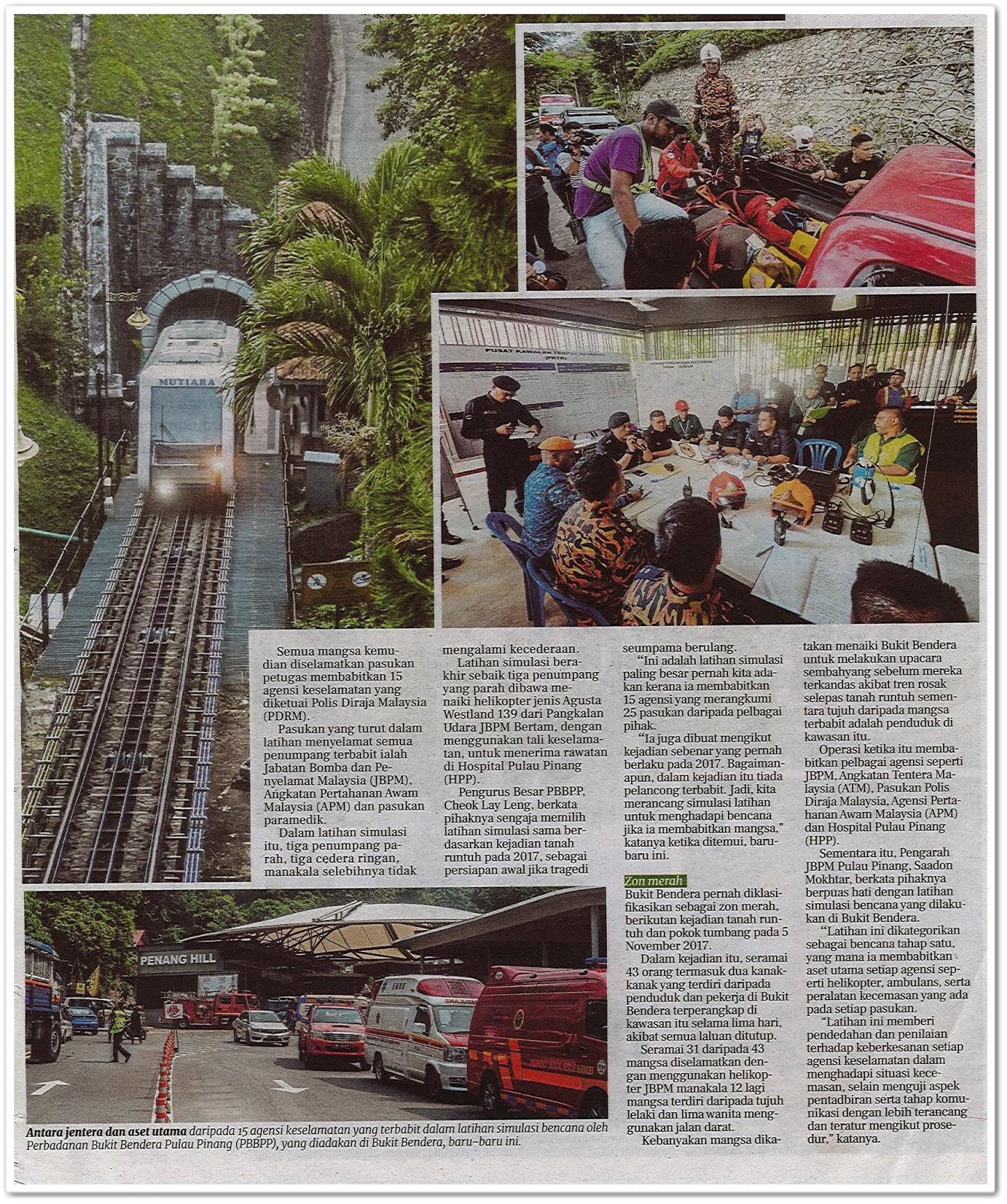 Simulasi bencana Bukit Bendera - Keratan akhbar Berita Harian 3 Ogos 2019