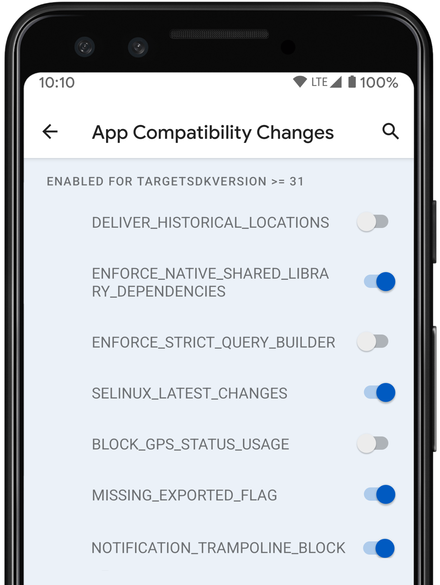mobile display of App Compatibility Changes with toggles