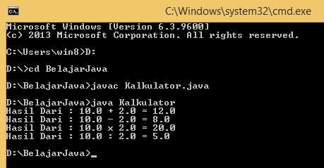 Program Kalkulator Sederhana Menggunakan Java