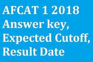 AFCAT 1 2018 Answer key, Expected Cutoff, Result Date