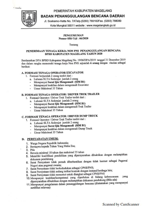 Rekrutmen Non PNS Badan Penanggulangan Bencana Daerah Lulusan SLTA Sederajat Tahun 2020