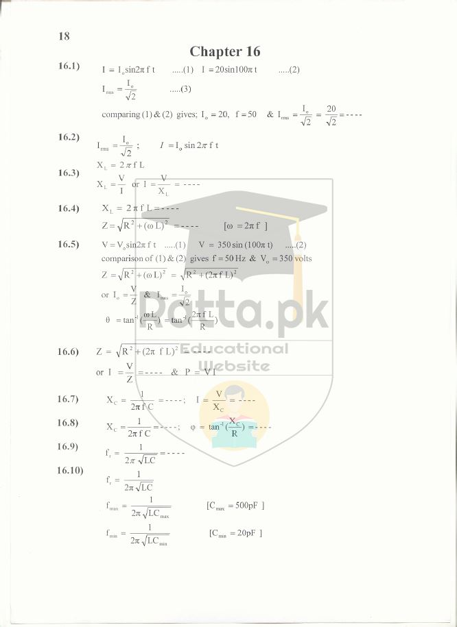 2nd Year Physics Solved Numericals Chapter 16 Notes -  Alternating Current