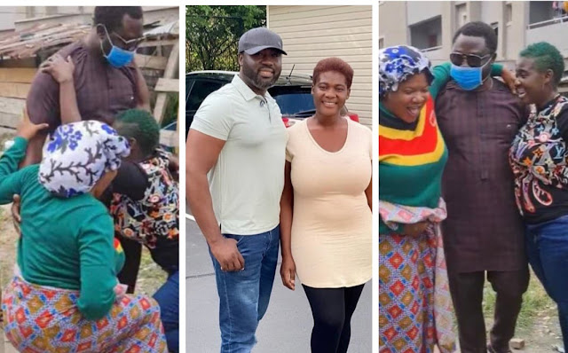 Watch the moment Toyin Abraham and Mercy Johnson knelt to greet Mercy's husband(Video)