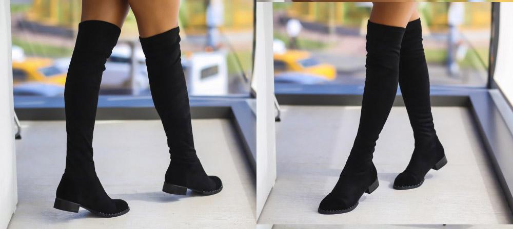 Cizme fara toc inalte pana la genunchi negre ieftine de toamna