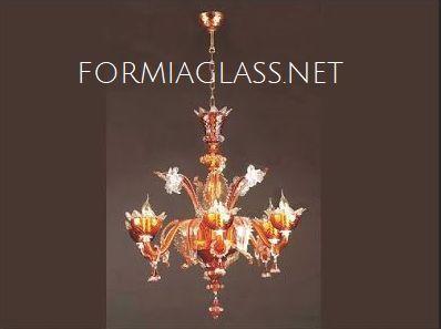 lampadario-di-murano-in-vetro-soffiato-rosso-oro