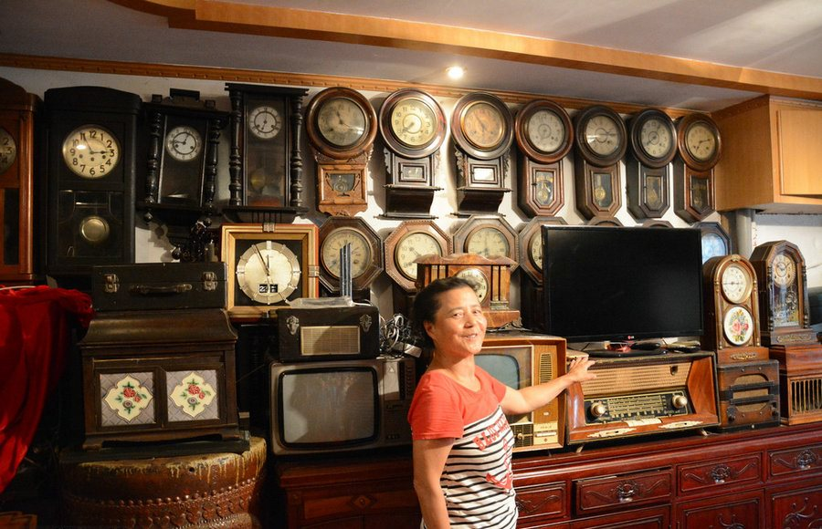 vintage collection of clocks in China