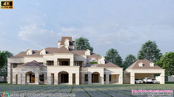 Front view of a beautiful colonial house with separate car porch