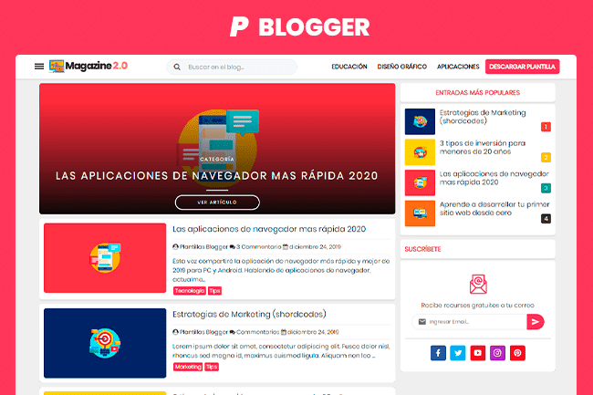 Plantilla Blogger Magazine 2.0