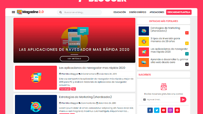 Plantilla Blogger Magazine 2.0 - Responsive Blogger Template
