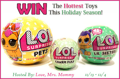 Enter the L.O.L. Surprise! Pets, Lil Sisters & Charm Fizz Prize Pack Giveaway. Ends 12/4
