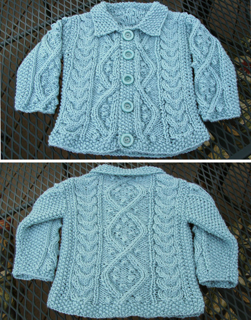 Baby Aran Cardigan in Aquarium - Free Pattern
