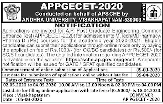 AP PG Engineering Common Entrance Test ME MTech MPharmacy APPGECET Notification 2020 Exam Pattern and Syllabus