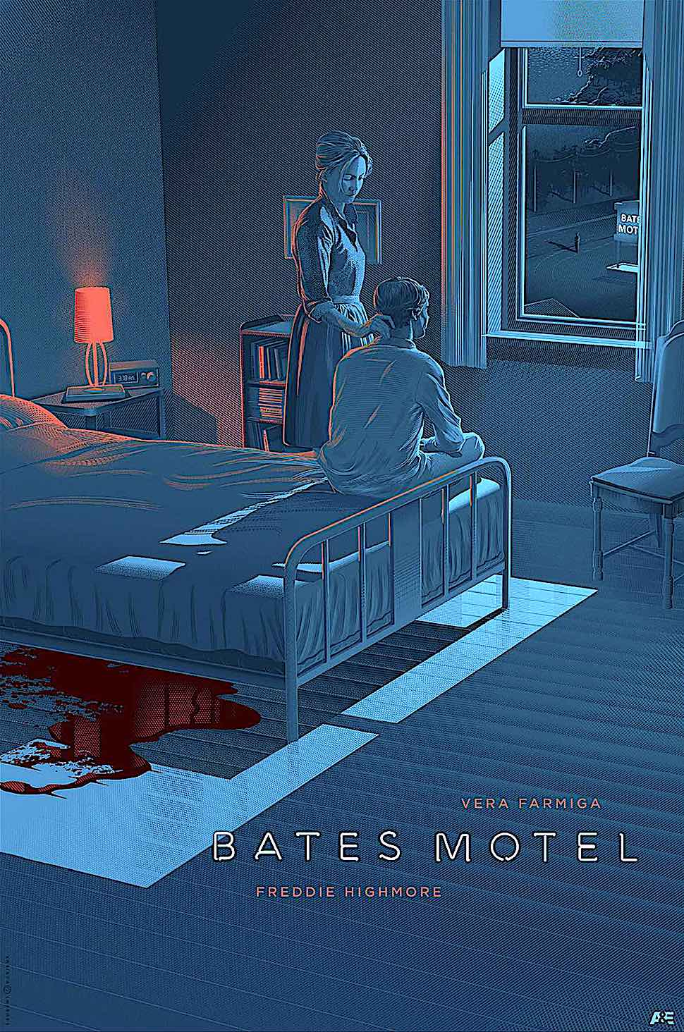 Laurent Durieux Bates Motel, a poster illustration of mother and son and murder