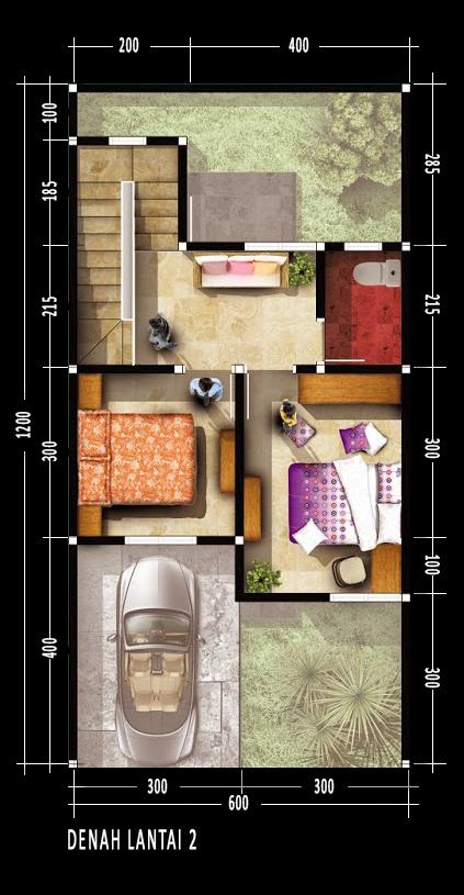 Denah rumah dua lantai luas bangunan 70 m2