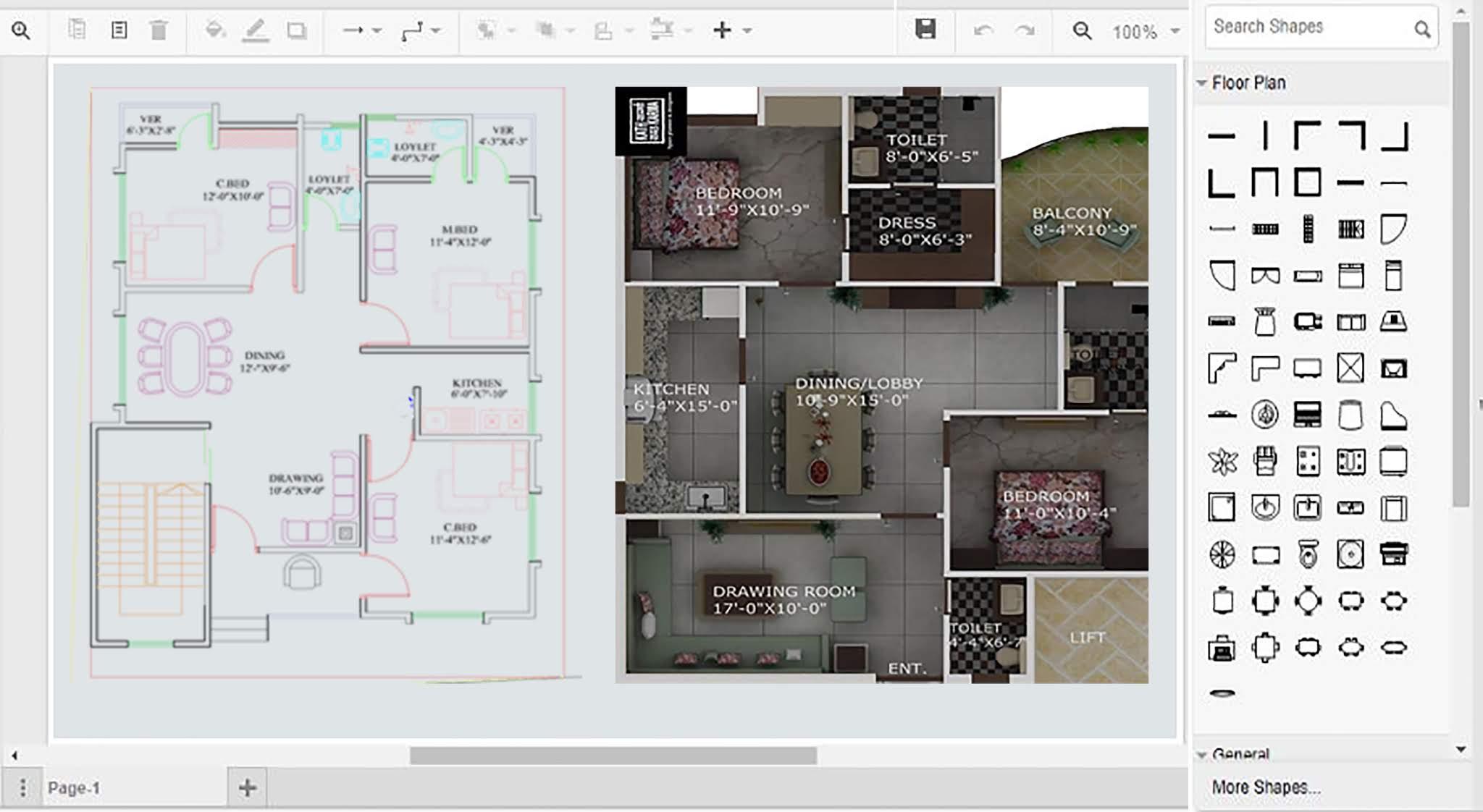 Draw floor plans on computer