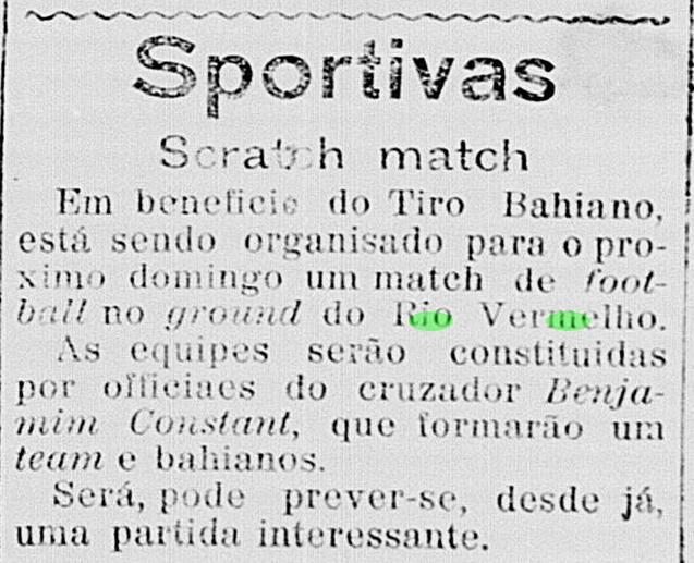 Avisos de futebol no Rio Vermelho em 1914